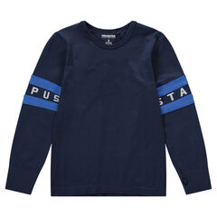 Long-sleeved jersey tee-shirt with appliqué bands