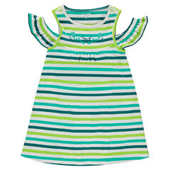 Cotton dress with allover contrasting stripes and bare shoulders