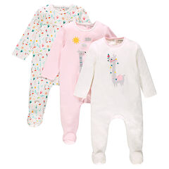 Set of 3 cotton footed sleepers with opening adapted according to the age