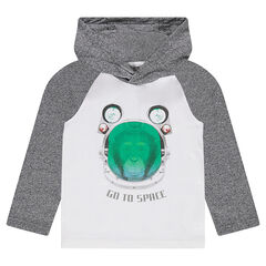 Long-sleeved tee-shirt with hood and monkey print