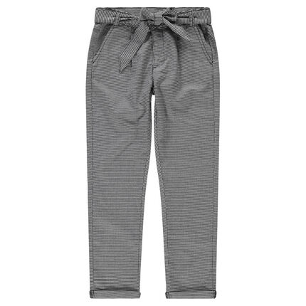Junior - Regular fit pants with houndstooth checks and tie strings