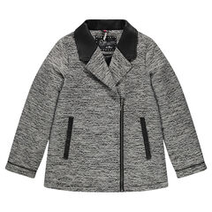 Junior - Coat in jacquard and imitation leather