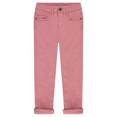 Fleece-lined twill pants with rhinestone rivets