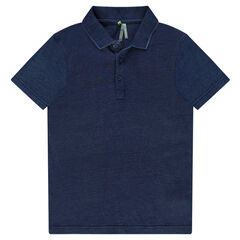 Junior - Denim-effect polo shirt with printed message on the back