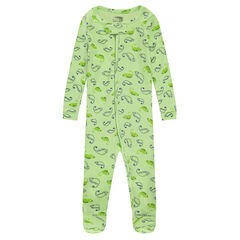 Ribbed footed sleeper with animals printed all over