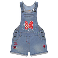 Short denim overalls with Disney Minnie Mouse print