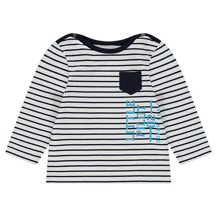 Striped tee-shirt with a printed message and a patch pocket