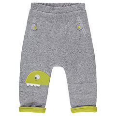 Patterned fleece pants with dinosaur patch