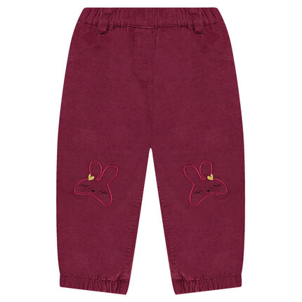 Fleece-lined velvet pants with embroidered rabbits