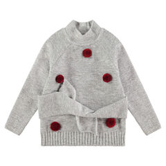 Soft knit sweater with pompoms and ties at the waist
