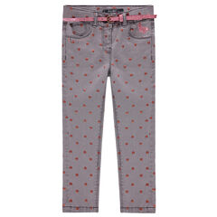 Used-effect jeans with allover printed hearts and a removable belt