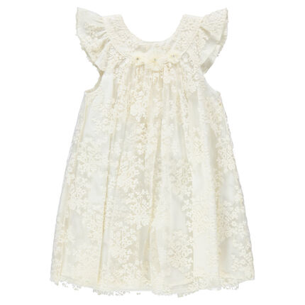 Short-sleeved celebration dress in lace with embroidered flowers