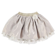 Iridescent frilled skirt with a golden waistband