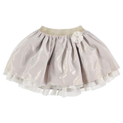Iridescent frilled skirt with a golden waistband
