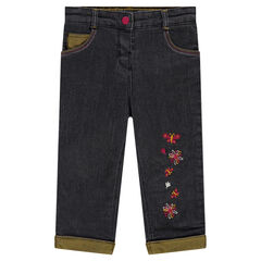 Microfleece-lined jeans with embroidered flowers