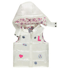 Sleeveless frilly jacket with removable hood and patches