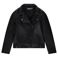 Junior - Imitation leather biker jacket with metal rivets and zipped pockets