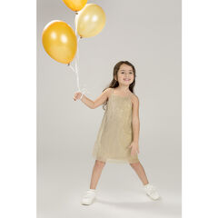 Golden pleated dress with thin straps