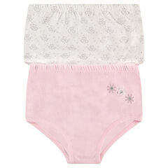Set of 2 pairs of cotton briefs with flower motif