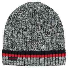 Heathered knit cap with contrasting stripes