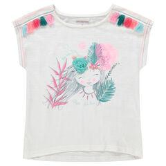 Tee-shirt manches courtes en jersey avec princesse printée et pompons