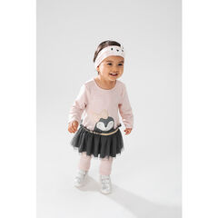 Ensemble with a tutu-style tunic and leggings with heart patches