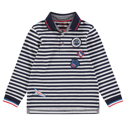 Long-sleeved cotton polo shirt with contrasting stripes and badges