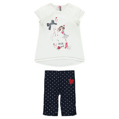 Printed tee-shirt and polka dot cycling shorts beach ensemble