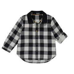 Long-sleeved checkered shirt with plain-colored collar