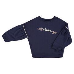 Fleece sweatshirt with printed birds and message in fine cord