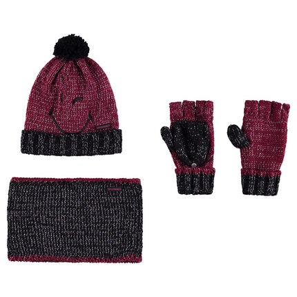 Ensemble with a knit cap featuring ©Smiley embroidery, mittens and snood