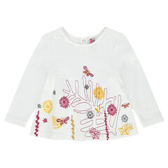 Long-sleeved tee-shirt with an embroidered floral motif