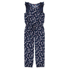 Long crepe jumpsuit with decorative print