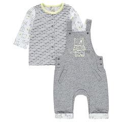 Long sleeve T-shirt and fleece overalls ensemble