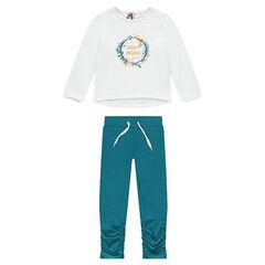 Two-tone fleece jog with fancy print
