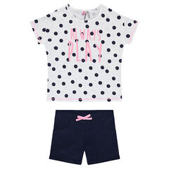 Junior - Ensemble with a tee-shirt featuring allover polka dots and plain-colored shorts