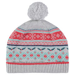 Knit cap with jacquard Christmas motif and pompom