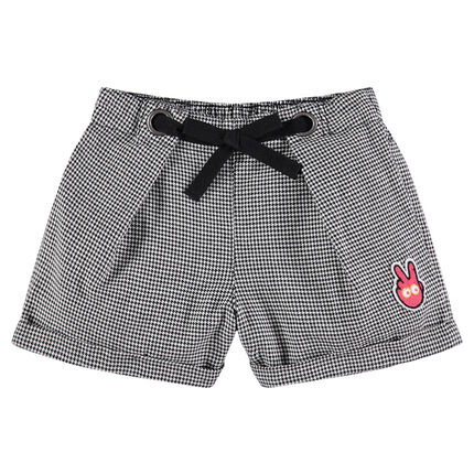 Shorts with allover houndstooth motif and badge