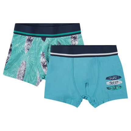Junior - Set of 2 assorted printed/plain-colored boxer shorts