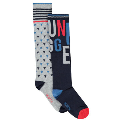 Set of 2 pairs of knee-high socks with jacquard motifs