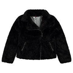 Junior - Biker jacket-style coat in fake fur