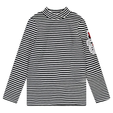 Thin sweater with allover stripes and a ©Disney Minnie Mouse badge patch