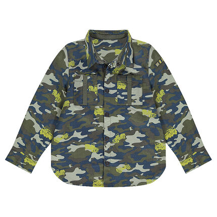 Long-sleeved shirt with army and cars print