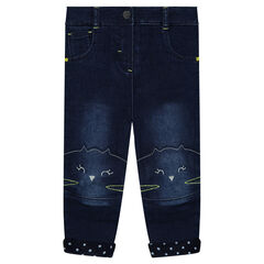 Distressed and jersey-lined jeans with embroidered cat heads