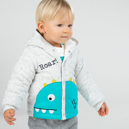 Hooded jacket in slub fleece with sherpa lining and embroidered dinosaur