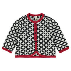 Knit cardigan with jacquard print