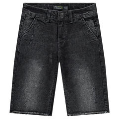 Junior - Distressed denim bermuda shorts with raw edges