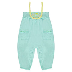 Romper in plumetis cotton with braided straps