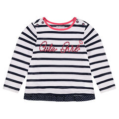 Mesh striped tee-shirt with layered effect