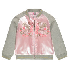 Flower embroidered dual fabric bomber jacket